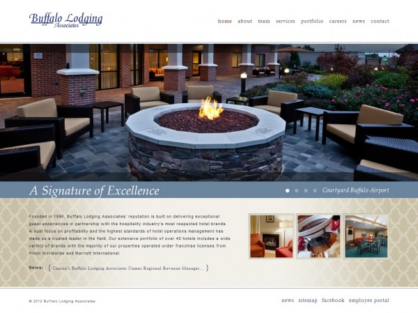 Buffalo Lodging Associates Homepage Screen