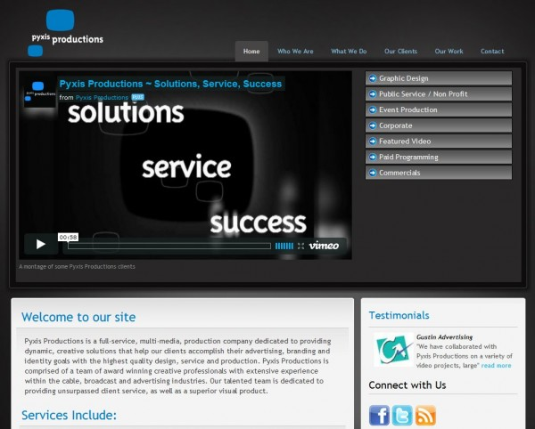 Pyxis Productions Homepage Screen